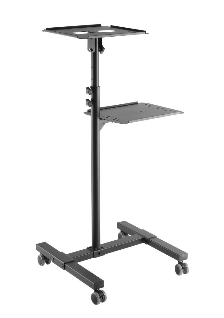 Mobile Projector Stand – Rolling Height Adjustable Laptop And Projector Cart On Wheels – Black Presentation Trolley