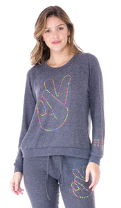 Everly Neon Stud Peace Sign Sweater