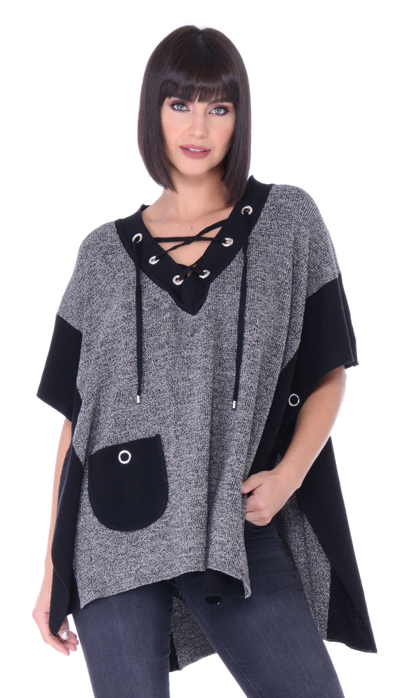 Lace Up Poncho Pocket Sweater