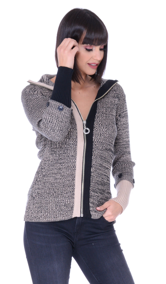 Contrast Cuff Zip Up Sweater