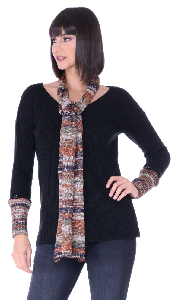 Contrast Cuff Pullover Sweater w/ Scarf