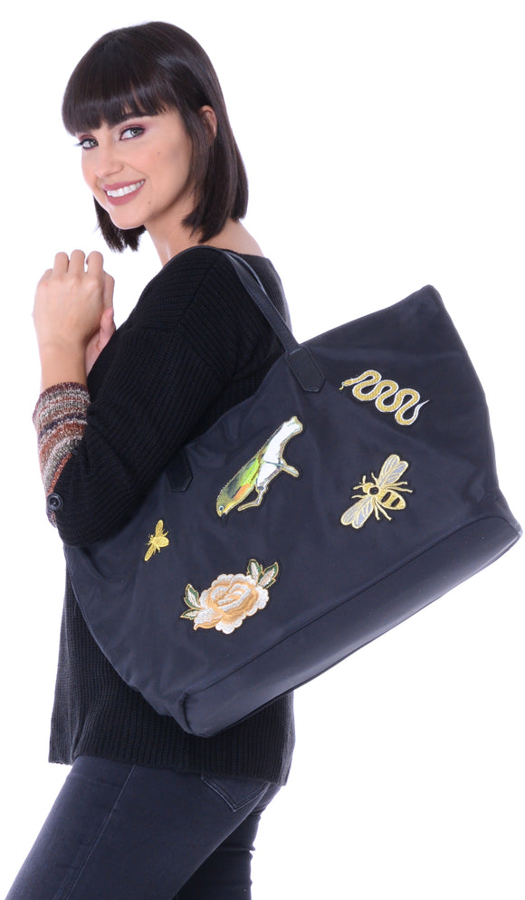 Birds & Bees Patch Large Black Tote Bag