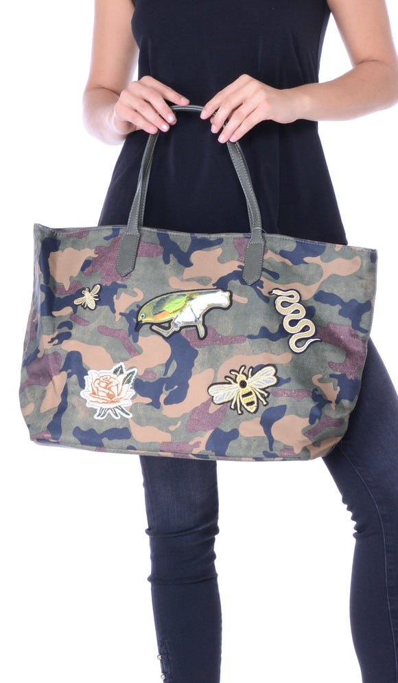 Birds & Bees Patch Large Camo Tote Bag
