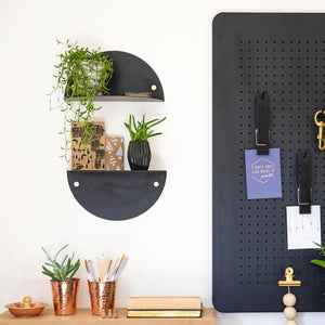 Half moon - Black and White Metal Shelf