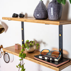 Metal Shelf Holder  - Double shelf - Black