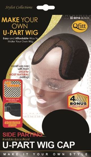 Qfitt Make Your Own Invisible Lace Front U Part Wig Cap Side Parting - 5016 Black - Beauty Empire