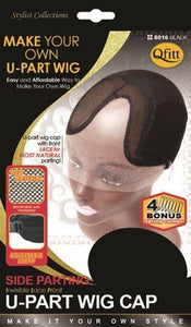 Qfitt Make Your Own Invisible Lace Front U Part Wig Cap Side Parting - 5016 Black