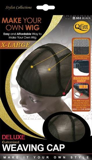 Qfitt Make Your Own Wig X Large Deluxe Customized Weaving Cap - 551 Black - Beauty Empire