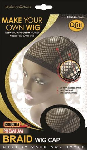Qfitt Make Your Own Wig Crochet Premium Braid Wig Cap - 5019 Black