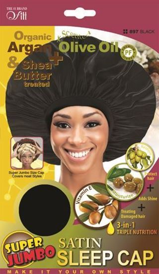 Qfitt Organic Argan & Shea Butter Treated + Olive Oil Scented Super Jumbo Satin Sleep Cap - 897 Black - Beauty Empire