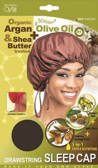 Qfitt Organic Argan & Shea Butter Treated + Olive Oil Scented Drawstring Sleep Cap - 824 Assort(Random Color) - Beauty Empire