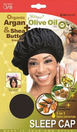 Qfitt Organic Argan & Shea Butter Treated + Olive Oil Scented Sleep Cap - 821 Black - Beauty Empire