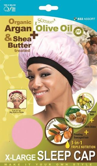 Qfitt Organic Argan & Shea Butter Treated + Olive Oil Scented X Large Sleep Cap - 822 Assort(Random Color)