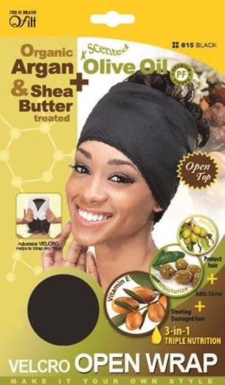 Qfitt Open Top Organic Argan & Shea Butter Treated + Olive Oil Scented Velcro Open Wrap - 815 Black - Beauty Empire