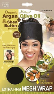 Qfitt Open Top Organic Argan & Shea Butter Treated + Olive Oil Scented Extra Firm Mesh Wrap - 819 Black