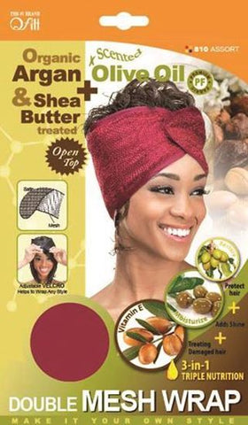 Qfitt Organic Argan & Shea Butter Treated + Olive Oil Scented Double Mesh Wrap - 810 Assort(Random Color)