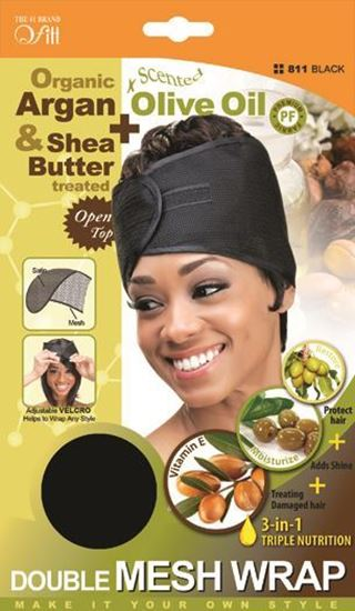 Qfitt Organic Argan & Shea Butter Treated + Olive Oil Scented Double Mesh Wrap - 811 Black - Beauty Empire