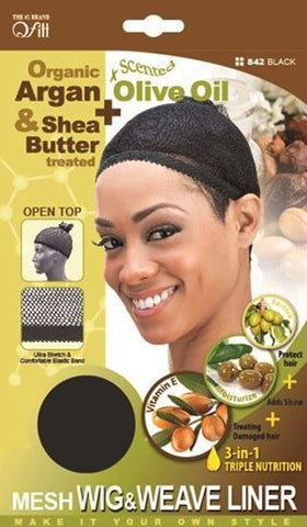 Qfitt Open Top Organic Argan & Shea Butter Treated + Olive Oil Scented Mesh Wig & Weave Liner - 842 Black