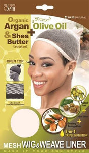 Qfitt Open Top Organic Argan & Shea Butter Treated + Olive Oil Scented Mesh Wig & Weave Liner - 8422 Natural