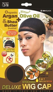 Qfitt Organic Argan & Shea Butter Treated + Olive Oil Scented Deluxe Stocking Wig Cap - 804 Black