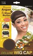 Qfitt Organic Argan & Shea Butter Treated + Olive Oil Scented Deluxe Stocking Wig Cap - 805 Brown - Beauty Empire