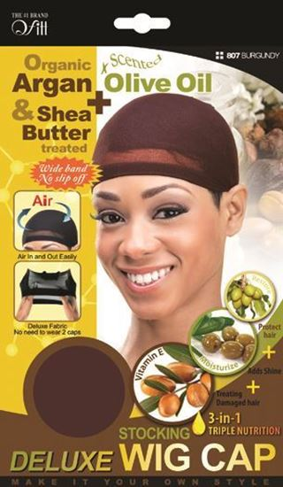 Qfitt Organic Argan & Shea Butter Treated + Olive Oil Scented Deluxe Stocking Wig Cap - 807 Burgundy