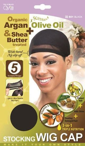 Qfitt Organic Argan & Shea Butter Treated + Olive Oil Scented Stocking Wig Cap - 801 Black