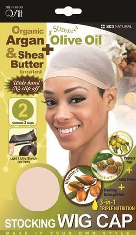 Qfitt Organic Argan & Shea Butter Treated + Olive Oil Scented Stocking Wig Cap - 803 Natural