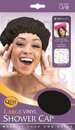 Qfitt Large Vinyl Shower Cap - 181 Black - Beauty Empire