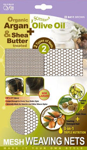 Qfitt Organic Argan & Shea Butter Treated + Olive Oil Scented Mesh Weaving Nets - 8411 Brown
