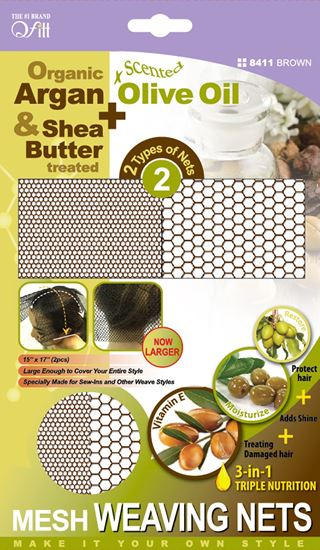 Qfitt Organic Argan & Shea Butter Treated + Olive Oil Scented Mesh Weaving Nets - 8411 Brown - Beauty Empire