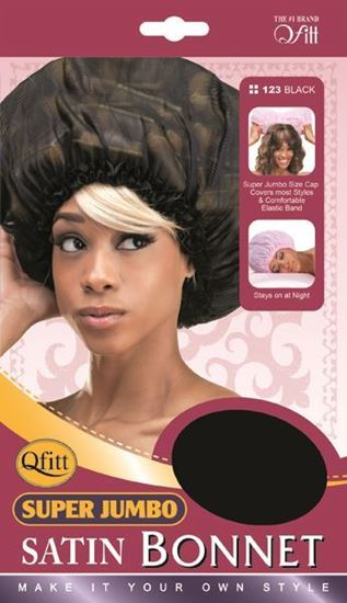 Qfitt Super Jumbo Satin Bonnet - 123 Black - Beauty Empire
