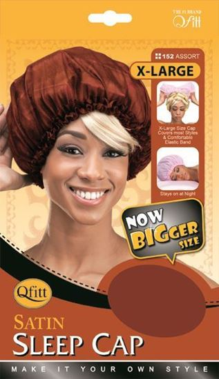 Qfitt X Large Satin Sleep Cap - 152 Assort(Random Color) - Beauty Empire