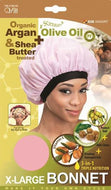 Qfitt Organic Argan & Shea Butter Treated + Olive Oil Scented X Large Bonnet - 828 Assort(Random Color) - Beauty Empire