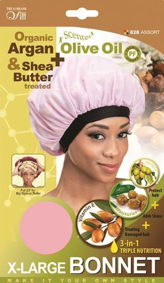 Qfitt Organic Argan & Shea Butter Treated + Olive Oil Scented X Large Bonnet - 828 Assort(Random Color)