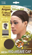 Qfitt Closed Top Organic Argan & Shea Butter Treated + Olive Oil Scented Mesh Wig & Weave Cap - 8431 Brown