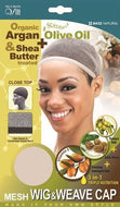 Qfitt Closed Top Organic Argan & Shea Butter Treated + Olive Oil Scented Mesh Wig & Weave Cap - 8432 Natural