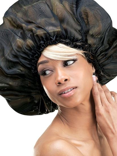 Qfitt Super Jumbo Satin Sleep Cap - 121 Black - Beauty Empire