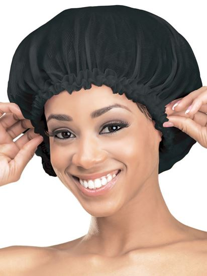 Qfitt Large Satin Bonnet - 157 Black - Beauty Empire