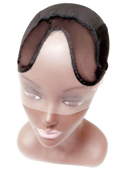Qfitt Make Your Own Invisible Lace Front U Part Wig Cap Center Parting- 5015 Black