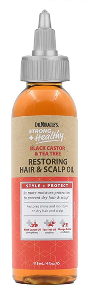 Dr.Miracle's Strong Healthy Black Castor & Tea Tree Restoring Hair & Scalp Oil - 4oz