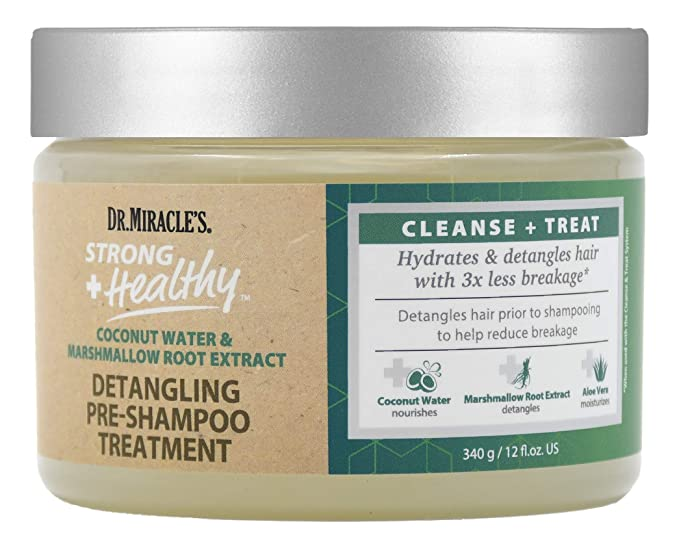 Dr.Miracle's Strong Healthy Coconut Water & Marshmallow Root Extract Detangling Pre-Shampoo Treatment - 12oz