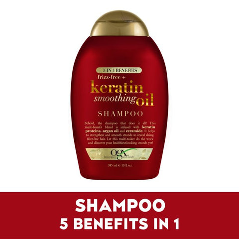 OGX 5 In 1 Benefits Frizz-Free + Keratin Smoothing Oil Shampoo - 13oz