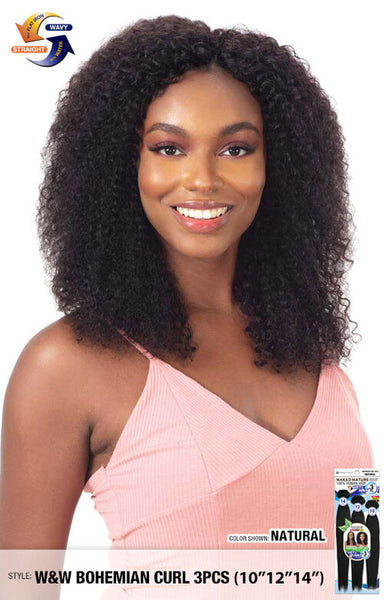 Shak N Go Naked Nature 100% Unprocessed Human Hair Wet & Wavy - 3pcs Bohemian Wave