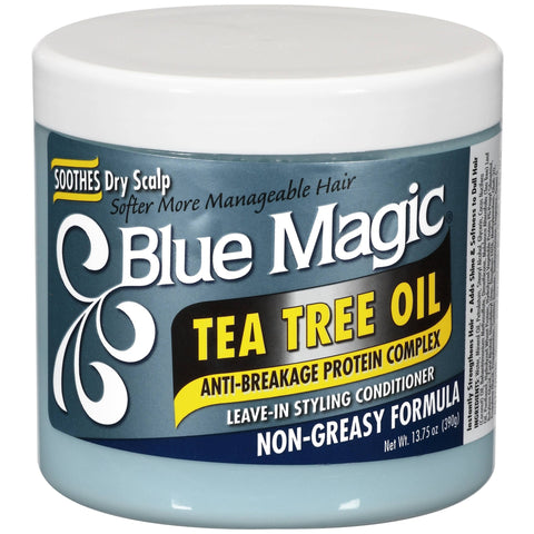 Blue Magic Tea Tree Oil Anti-Breakage Protein Complex Leave-In Styling Conditioner (13.75 Oz) - Beauty Empire