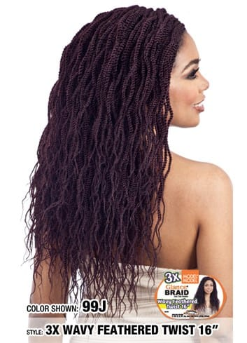 Model Model Glance Crochet Braid - 3X Wavy Feathered Twist 16 Inches