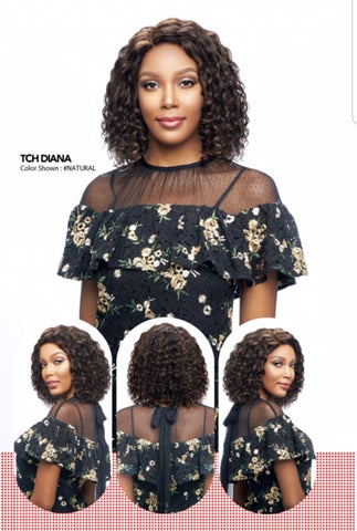 Vanessa 100% Unprocessed Brazilian Human Hair Hand-Tied Swissilk Top C-Side Lace Front Wig - TCH Diana