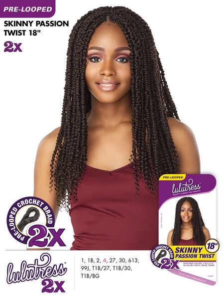 Sensationnel Lulutress Pre-Looped Crochet Braid - 2X Skinny Passion Twist 18 Inches