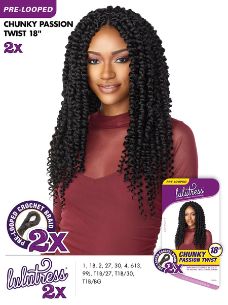 Sensationnel Lulutress Pre-Looped Crochet Braid - 2X Skinny Passion Twist 24 Inches