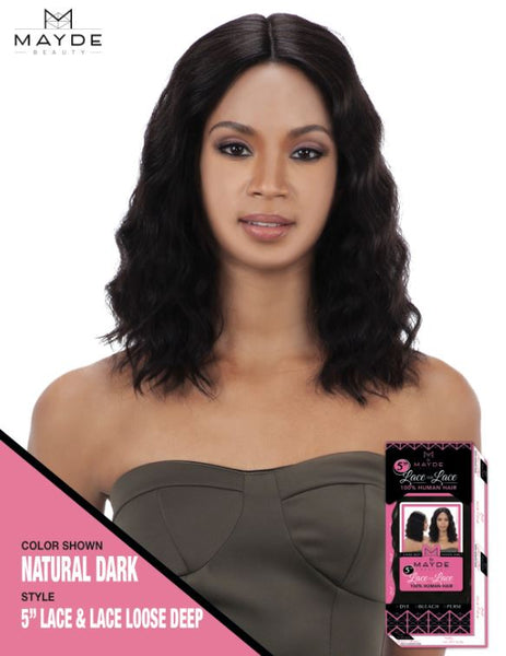 Mayde Beauty Lace & Lace 100% Human Hair 5 Inch Lace Front Wig - Loose Deep - Beauty Empire